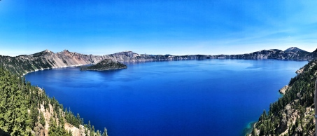 The purest blue can be found at Crater Lake, Oregon.